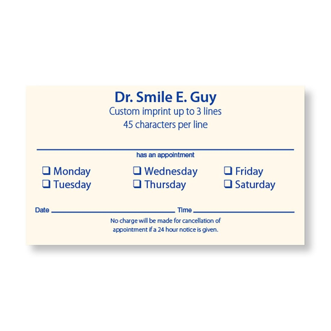 Cream 2 Sided Appt Cards Smooth - Business Cards from SmileMakers