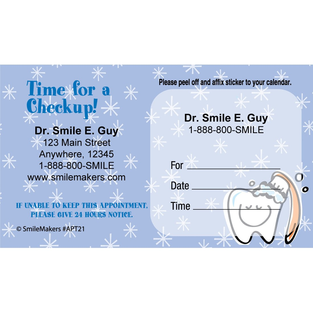 custom smiling tooth appointment cards appointment cards from