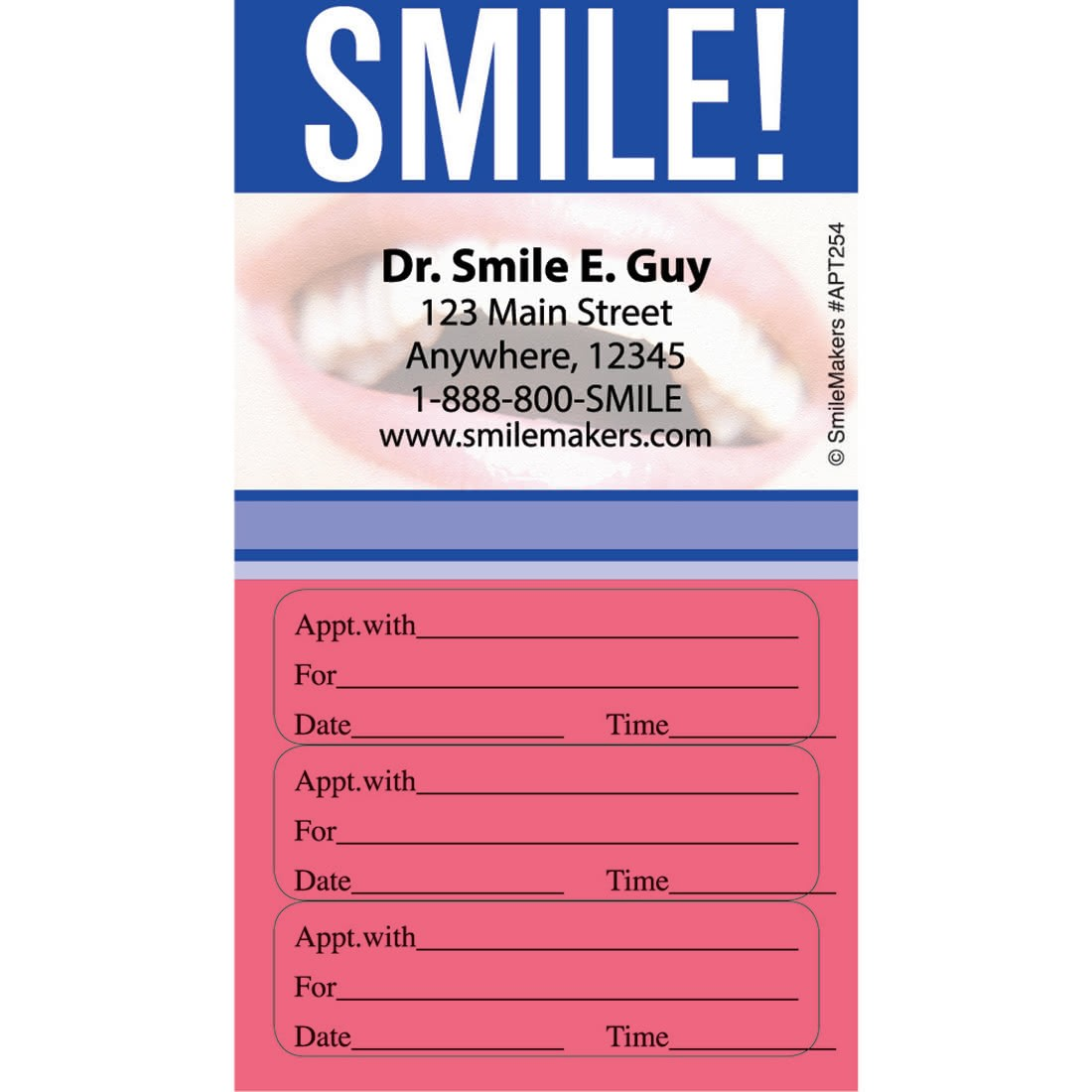 Superior Custom Smile Three Sticker Appointment Cards