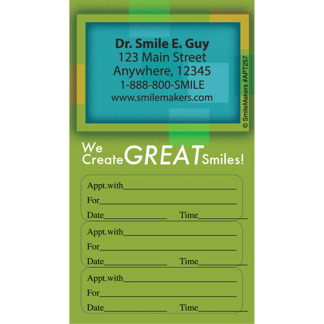 Lovely Custom Great Smiles Three Sticker Appointment Card