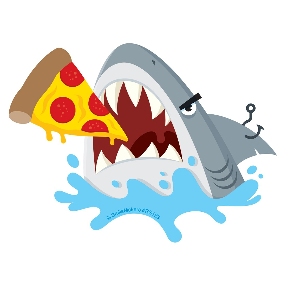 Shark Eating Pizza Re-Stickable Stick [image]