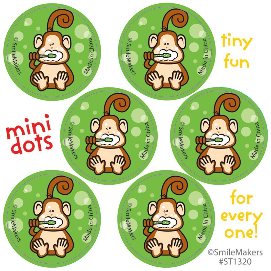 Brush, Floss, Smile Monkey Mini Dot Stickers [image]