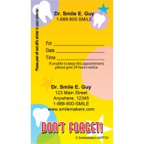 Custom Dont Forget Tooth Appointment Cards