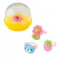 "Cute Plastic Rings in 2"" Capsules"