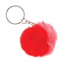 Red and Pink Furry Ball Backpack Pulls