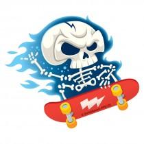 Skeleton Skateboarding Re-Stickable Stickers