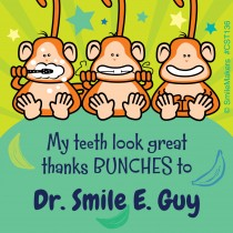 Custom Brush Floss Smile Monkeys Stickers