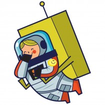Silly Space Girl Astronaut Wall Cling