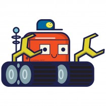 Silly Space Tractor Wall Cling