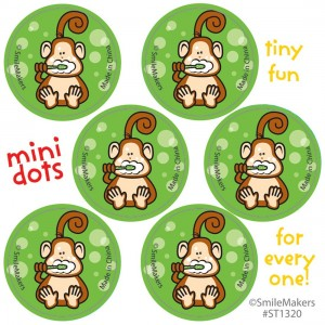 Brush, Floss, Smile Monkey Mini Dot Stickers
