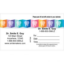 Custom Folded Rainbow Teeth Appointment Cards