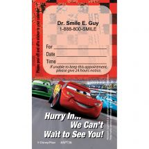 Custom Disney Cars Dental Team Appointment Cards