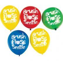 Brush, Floss, Smile Latex Balloons