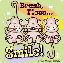 Brush, Floss Smile Monkeys Stickers