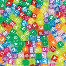 Colourful Alphabet Cube Beads