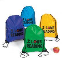 I Love Reading Drawstring Backpacks