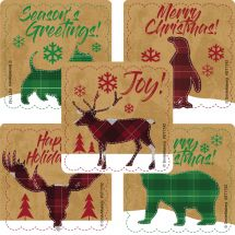 Plaid Christmas Animals Stickers