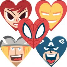 Shaped Marvel Valentine's Day Sticke