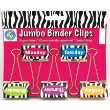 Zebra Days of the Week Binder Clips