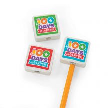 100th Day Pencil Top Erasers