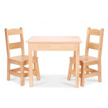 Natural Wooden Table & 2 Chairs Set