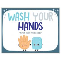 Horizontal Wash Your Hands Wall Decals